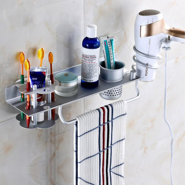 KCASA BR 32 Bathroom 4 In 1 Wall Mount Towel Rack Hanging Storage Shelves  With