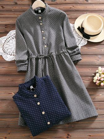 Mori Girl Polka Dots Long Sleeve Drawstring Waist Dress
