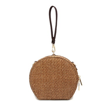 Round Rattan Bag Handmade Woven Straw Handbag Beach Shoulder Crossbody Bag