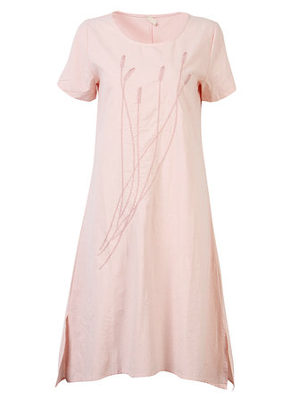 Casual Women Short Sleeve Loose Embroidered Vintage Literary Dress