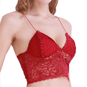 Sexy Lace Bralettes Deep Plunge See Through Lace-trim Camisole Unlined Bras