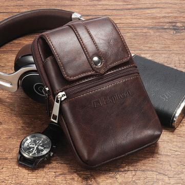 Ekphero Men Cowhide Phone Bag Waist Bag Vintage Belt Bag