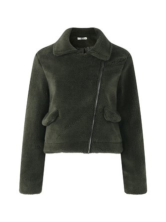 Zip Pocket Short Plush Coat