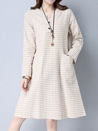 Women Long Sleeve Pockets Plaid Casual Dresses