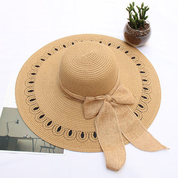 Women Summer Outdoor Wide Brim Beach Straw Hat UV Protection Sunshade Visor Hat
