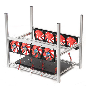 6 GPU Steel Coin Miner Mining Frame Steel Case LED Light With 8 Fans For ETH ZEC/BTB