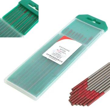 10Pcs 2% Thoriated WT20 Red TIG Welding Tungsten Electrode 0.04inch x 6inch (1.0mmx150mm)