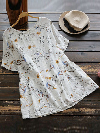 S-5XL Vintage Leaf Print O-neck Short Sleeves Loose Blouse