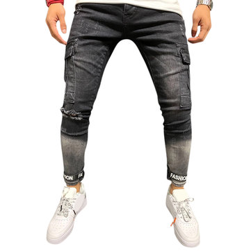 Mens Fashion Casual Big Pockets Mid Waist Slim Ripped Jeans