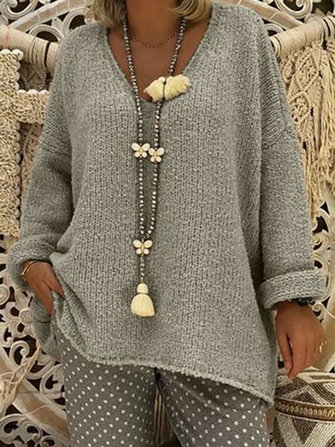 Women Pure Color V-Neck Long Sleeve Knitted Sweaters