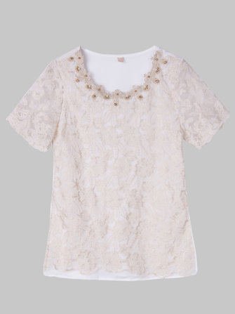 Women Elegant Lace Beaded Embroidery Chiffon T-Shirt