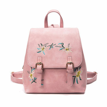 Floral Women Leather Backpack Embroidery School Vintage Bag