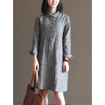 S-5XL Women Vintage Long Sleeve Striped Shirt Dress