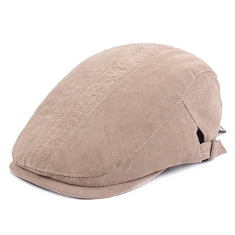 Men Unisex Vintage Cotton Solid Beret Cap Adjustable Sunshade Golf Cabbie Forward Hats