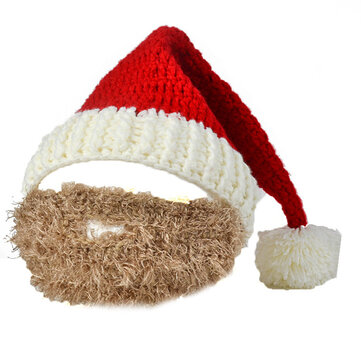 Unisex Knitted Christmas Bearded Hat Knitting Hat Mask Party Clothing Accessories Gifts