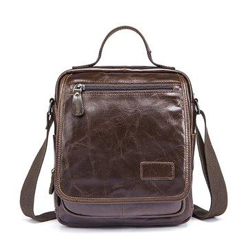 Men Genuine Leather Coffee Crossbody Bag Business Messenger Bag for 10.5 inch ipad