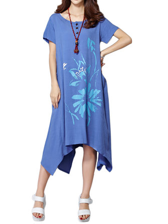 Women A-Line Short Sleeve Loose Flower Printed Cotton Linen O-Neck Irregular Dress