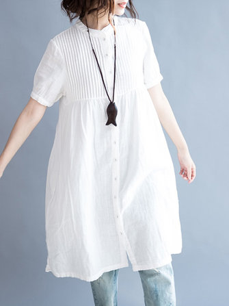 Women Casual Stand Collar Pleated Long Shirt