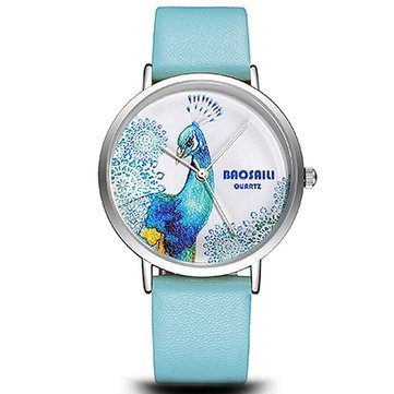 BAOSAILI BSL1012 Elegant Peacock Fashion Design Silver Color Case Ladies Women Quartz Leather Wrist Watch