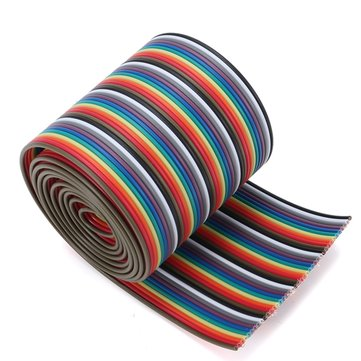 1M 3.3ft 10 Colors 40 Way 40 Pin Flat Color Rainbow Ribbon IDC Cable Rainbow Wire 1.20mm Pitch