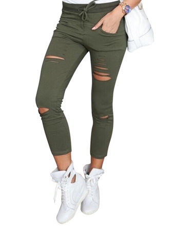 Women Casual Hollow High Waist Trousers Pure Color Drawstring Pants