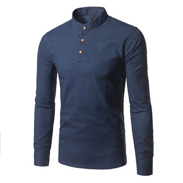 Mandarin Collar Plain Pure Color Stand Collar Casual Long Sleeve Shirts for Men