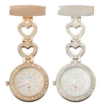 Luxury Stainless Steel Crystal Heart Dial Quartz Nurse Watch
