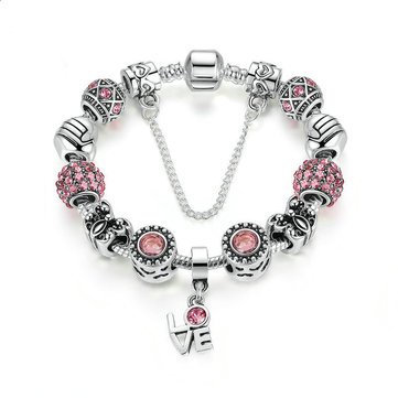 Silver Crown Love Crystal Glass Beads Bracelets Jewelry