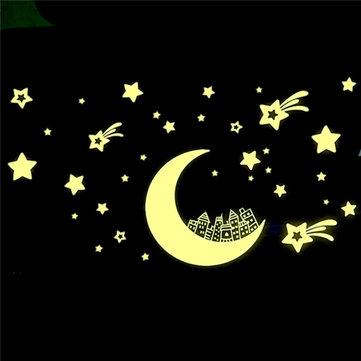 يتوهج في الظلام القمر ستار ملصقات مضيئة للإزالة الجدار ملصق الفينيل صائق جدارية ديكور غرفة الاطفال