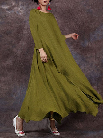Celmia Women Solid Color Long Sleeve Vintage Maxi Dress