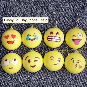 Honana DX-157 10PCS Funny Emoji Face Squishy Toys Stress Reliever Phone Chain Hang Decorations