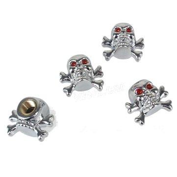 4 ชิ้นสร้างบุคลิกภาพ Silver Skull หมวกรูปวงแหวนวาล์ว Universal Gas Nozzle ฝุ่นปกคลุม