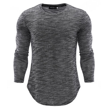 Mens Knitting Tops Casual T-shirt