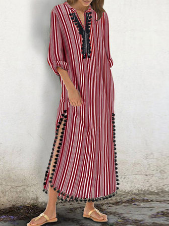 Women Striped High Split Tassel Kaftan Maxi Dress