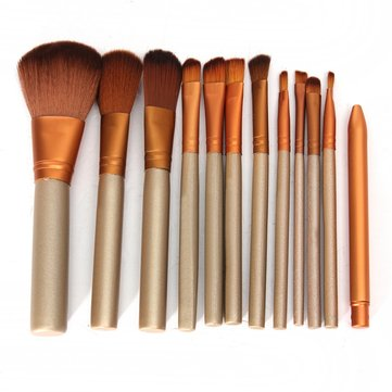 12PCS Makeup Golden Brushes Kit Foundation Powder Blusher Eyeshadow Eyeliner Lip Set