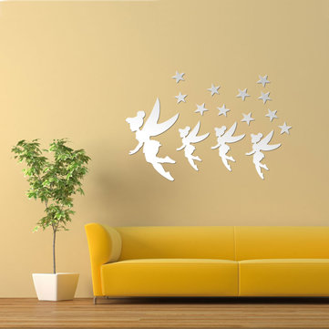 DIY Acrylic Mirror 4 Magic Fairy Stars Wall Stickers Home Decor Art Decal