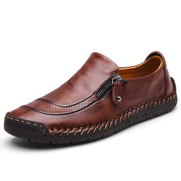 Men Comfy Hand Stitching Slip On Leather Oxfords