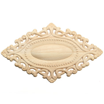 Wood Carving Applique Unpainted Flower Applique Furniture Cabinet Onlay Decoration 25x15cm