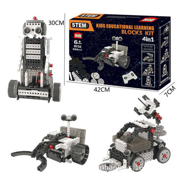 4 In 1 DIY RC Robot Toy Block Building Ifrared Control Radar Truck Rocket Launching Education Kit