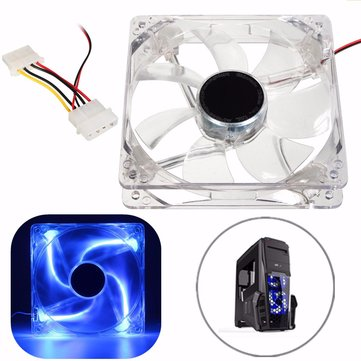 120mm Blue LED 4PIN Computer Cooling Fan CPU Cooler Heat Sink For Desktop 12V DC