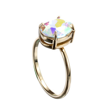 Simple Adjustable Crystal Open Ring Colorful Gemstone Gold Band Engagement Bridal Jewelry for Women