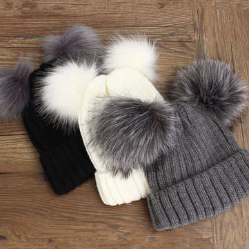 Women Outdoor Knitted Hat Double Fur Pom-poms Beanie Cap Warm Cute Beanie Skiing Bonnet Hats
