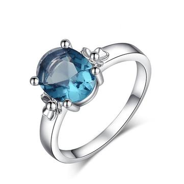 Sweet Environmental Copper Blue Zircon Gold Plating Ring