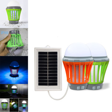 Outdoor LED Solar Pannel Lights Mosquito Lamp Insect Killer USB Mobile Charger Camping Light