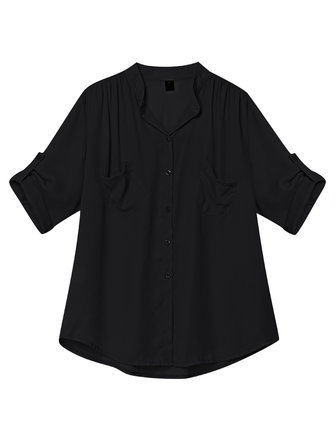 Loose Women Pure Color Half Sleeve Pleated Chiffon Blouse