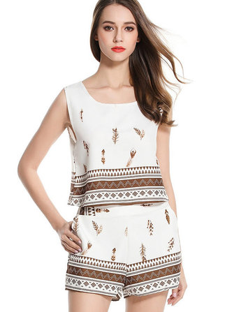 Casual Sleeveless O-Neck Printing Women White Playsuits