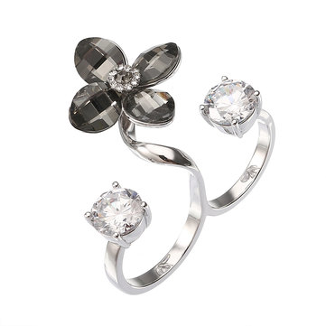 JASSY® Fine Double Open Ring Jewelry Elegant Platinum Plated Crystal Flower Shiny Zircon for Women