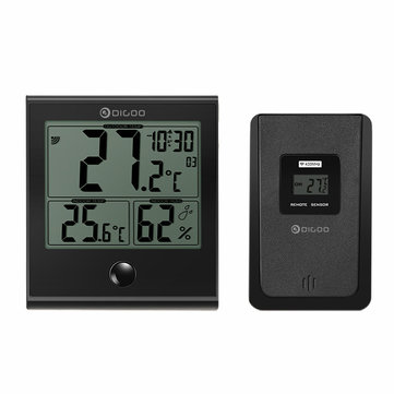 Digoo DG-TH1180 Home Confort Indoor and Outdoor Glass Panel Thermometer Hygrometer Temperature Humidity Digital Monitor with Outdoor Sensor