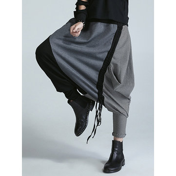 Fashion Women Striped Stitching Harem Pants