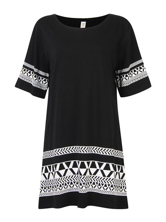 Casual Women Geometry Pattern Party Mini T Shirt Dress
